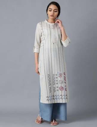 W Grey stripe cotton kurti