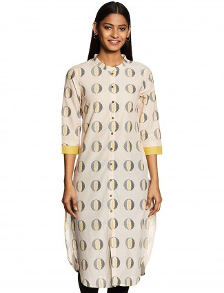 W kurti in cream color printed