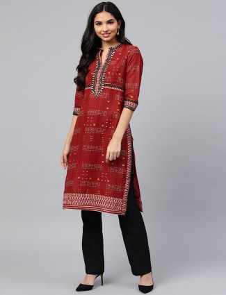 W maroon printed pattern casual kurti