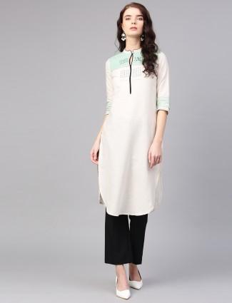 W off white cotton fabric casual kurti