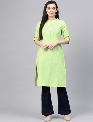 W parrot green casual wear plain kurti in cotton