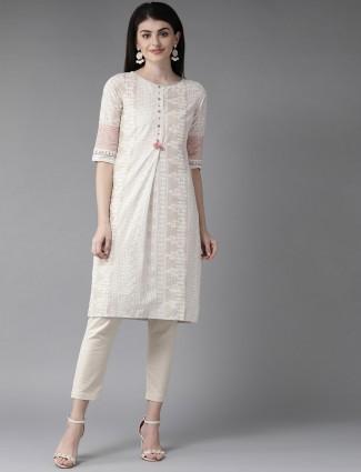 W printed cream cotton elbow sleeves kurti