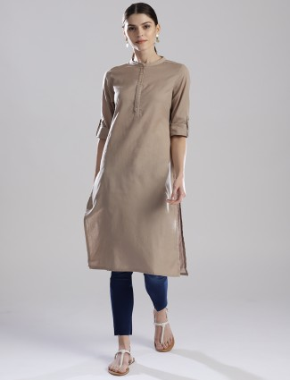 W simple cotton fabric beige hue kurti