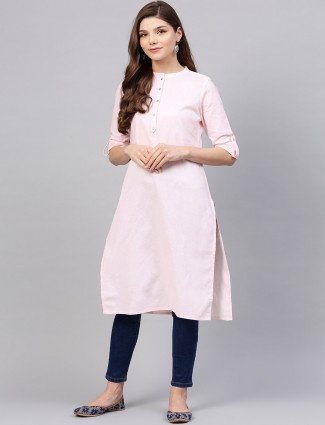 W simple pink colored cotton kurti
