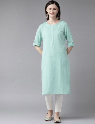W solid aqua cotton round neck kurti