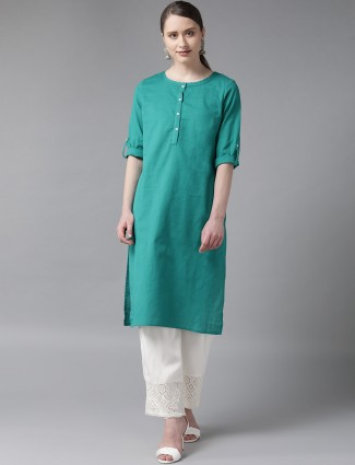 W solid green cotton kurti