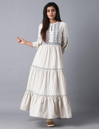 W stripe cream cotton kurti