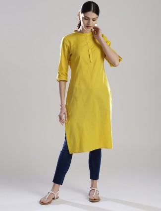 W yellow colored simple kurti
