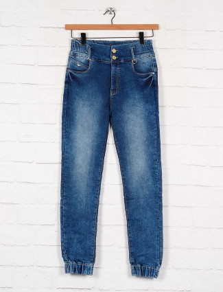 washed blue slim fit denim jeans