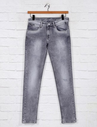 Washed grey denim jeans for mens