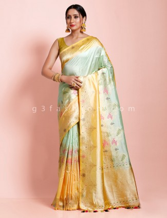 Wedding banarasi silk thread zari weaving sea green and yellow saree