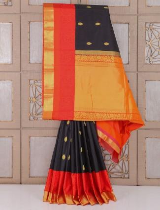 Wedding Black and red color silk saree