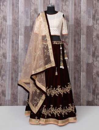Wedding cream and maroon color lehenga choli