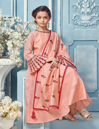 Wedding funtion peach hue cotton silk anarkali suit