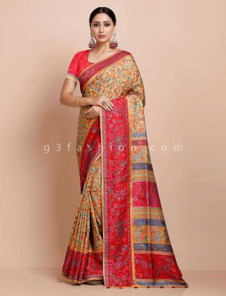 Wedding pashmina silk saree in yellow