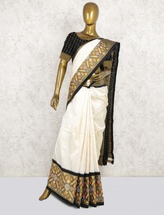 Wedding patola silk saree in off white