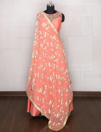 Wedding Peach color silk fabric anarkali suit