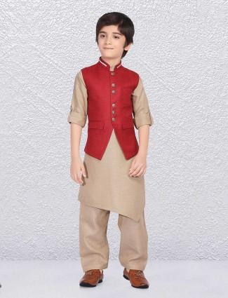 Wedding red jute waistcoat set