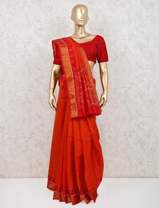 Wedding rust orange pure silk saree