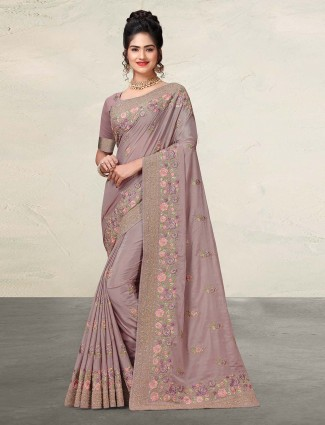 Wedding saree in violet satin