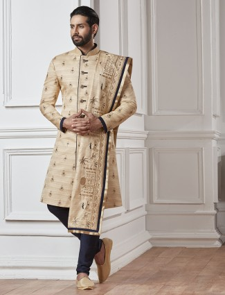 Wedding sherwani in cream color