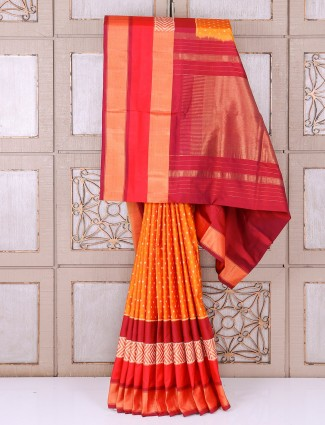 Wedding wear alluring silk saree in orange color
