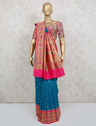 Wedding wear blue banarasi silk saree