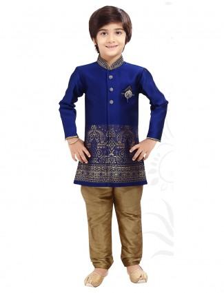 Wedding wear classy blue indo western in silk fabric