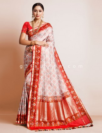 Wedding wear cream patola silk