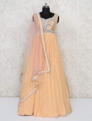 Wedding wear georgette peach gown