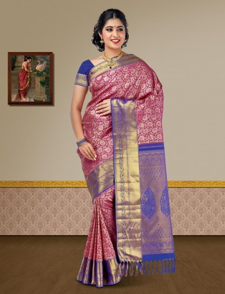Wedding wear magenta pure silk kanjivaram saree