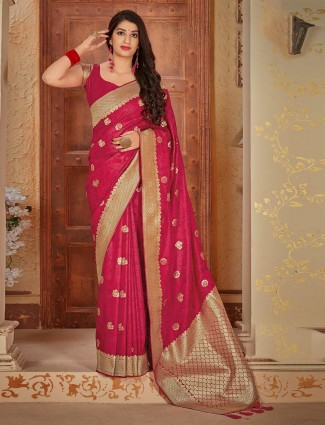 Wedding wear magenta satin saree