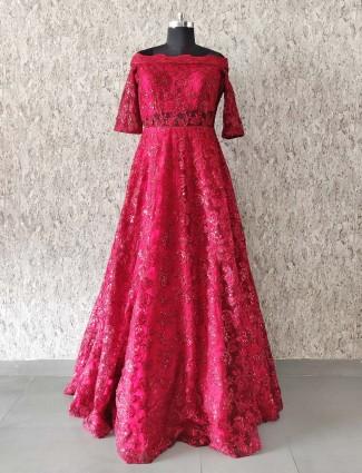 Wedding wear maroon hue net gown