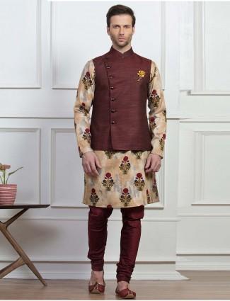 Wedding wear maroon hue waistcoat set