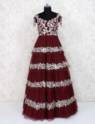 Wedding wear maroon hued net gown