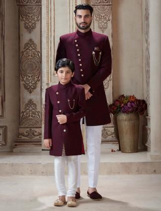 Wedding wear maroon terry rayon father son indo western