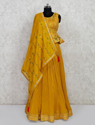 Wedding wear mustard yellow silk lehenga salwar suit