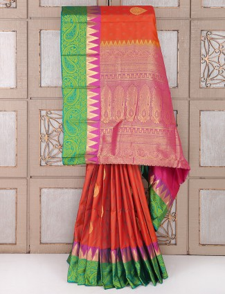 Wedding wear orange and green color saree