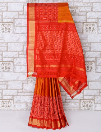 Wedding wear orange color patola silk saree