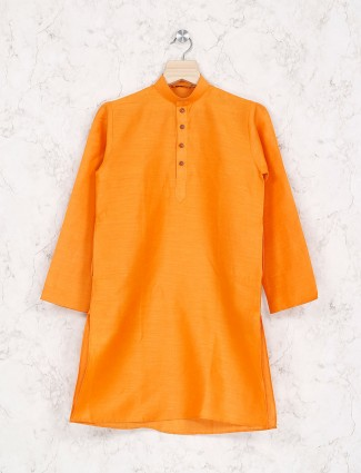 Wedding wear orange hue cotton kurta suit