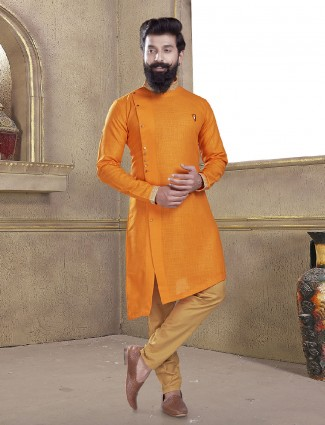 Wedding wear orange kurta suit
