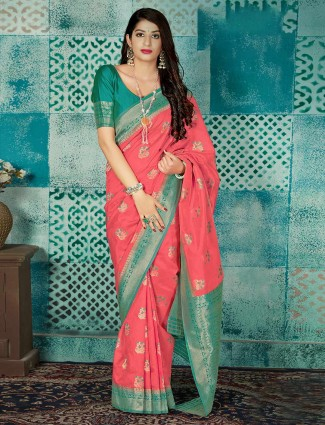 Wedding wear peach banarasi silk saree