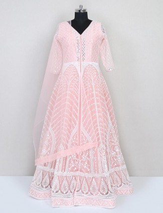 Wedding wear peach gown in net