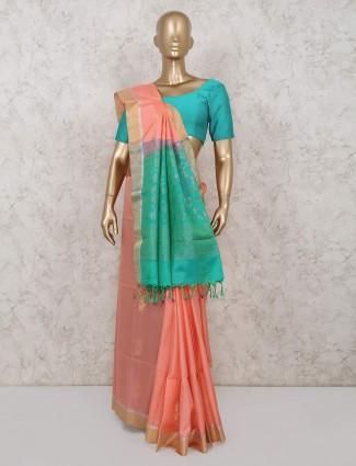 Wedding wear peach pure south silk saree