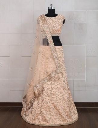 Wedding wear peach semi stitched lehenga choli
