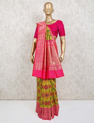 Wedding wear pink and limeyellow saree