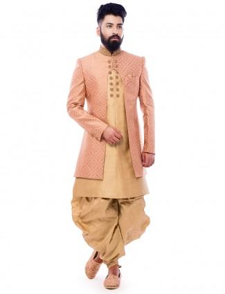 Wedding wear pink beige silk indo western