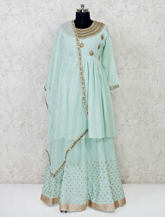 Wedding wear pista green cotton lehenga suit