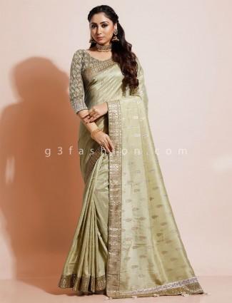 Wedding wear pista green dola silk saree