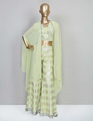 Wedding wear pista green palazzo suit